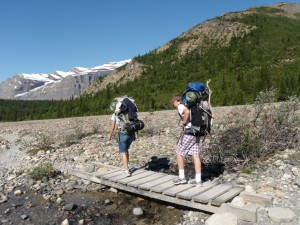 My son and I on our way up to Berg Lake.